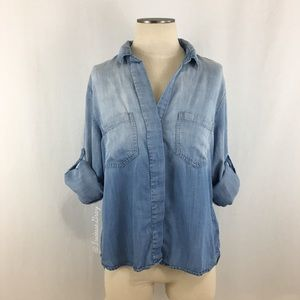 Anthropologie- Cloth & Stone Chambray Ombré Shirt